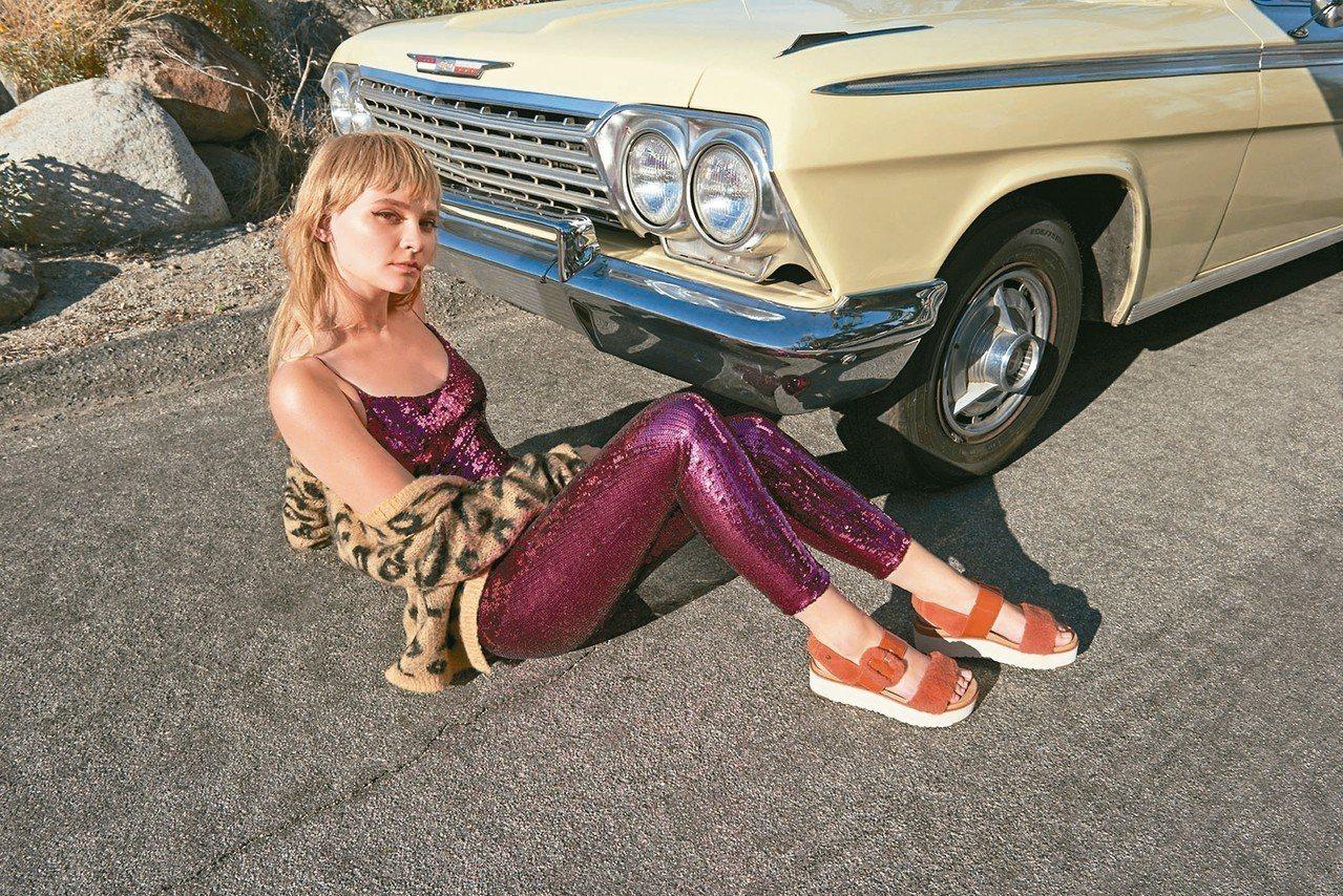 UGG全新的FLUFF INDIO與FLUFF CHELLA鞋款以橘紅色調展現滿...