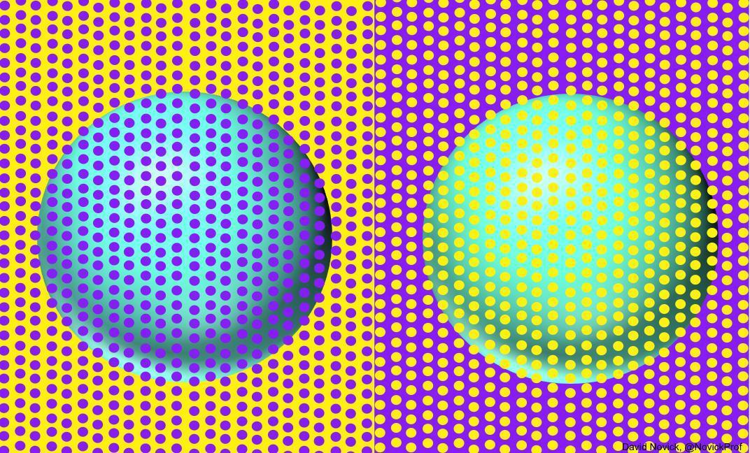 近日在推特上瘋傳兩張圖,兩顆圓球的顏色實際上是一樣的。圖/取自推特