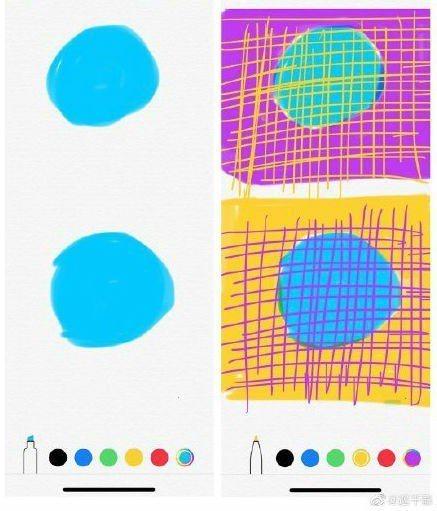 網友秉持實驗精神,在備忘錄動手畫畫看。圖/取自微博