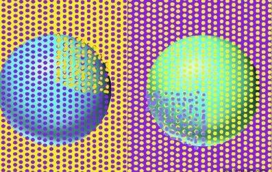 將兩圖的紫色、黃色圓點互換,會發現圓球顏色實際一樣。圖/取自微博