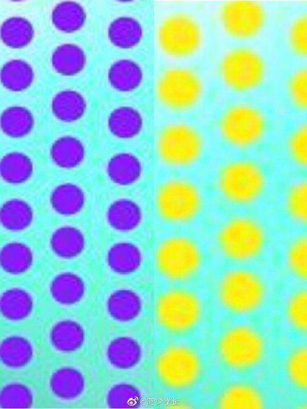 有網友將圖片放大截取部分球體的色塊,黃色會提高物體的明度,紫色則會降低物體的明度...