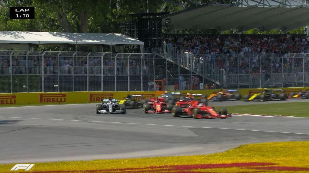 Vettel的起跑相當優異,後方追兵沒有任何機會。 摘自F1