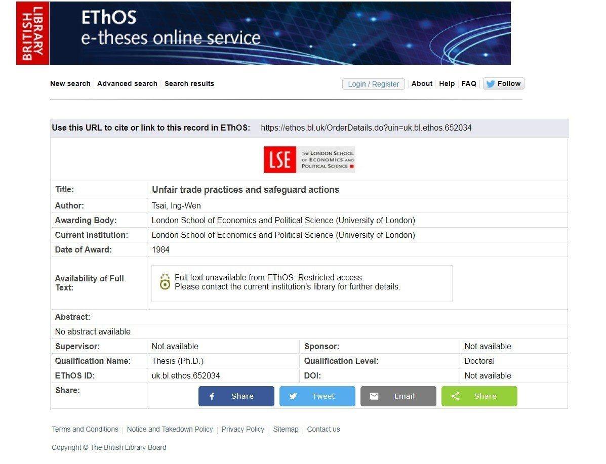 大英圖書館的論文電子檔查詢中心網站上寫「圖書館目前沒有該篇論文的電子檔館藏。需要...