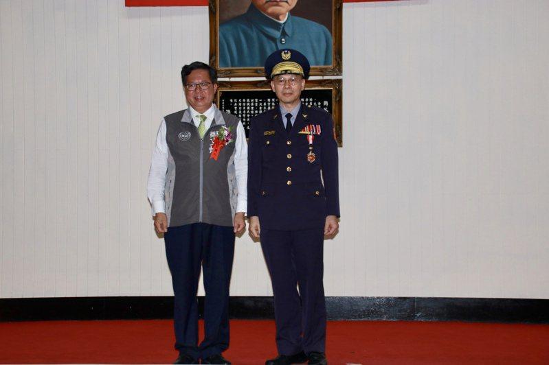 桃園市長鄭文燦(左)今出席警察節慶祝活動。記者曾健祐/攝影