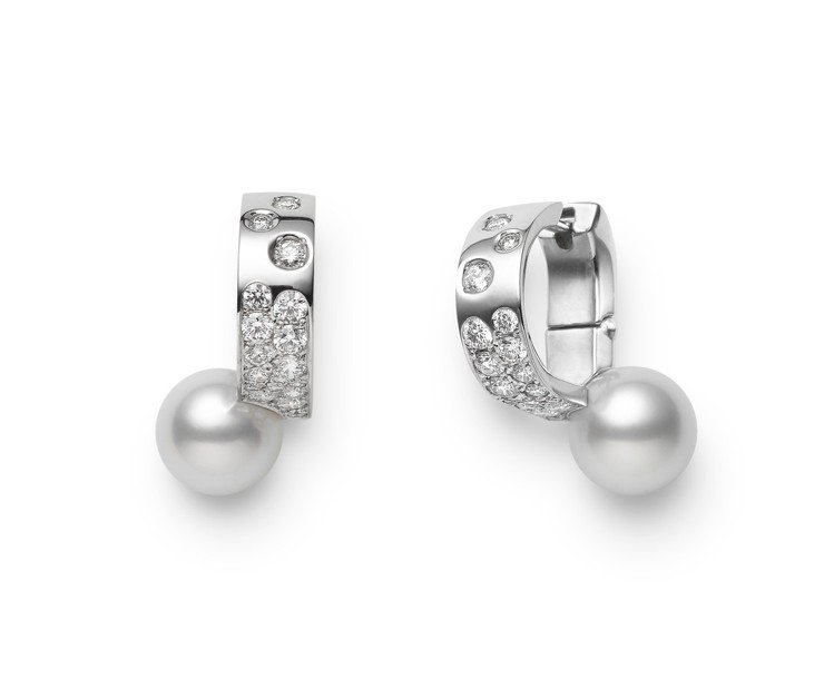 MIKIMOTO Universe Elements 系列耳環,18K白金鑲嵌鑽...