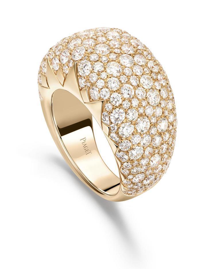伯爵表Sunlight系列18K玫瑰金鑽石戒指,共鑲嵌250顆鑽石,約83萬元。...