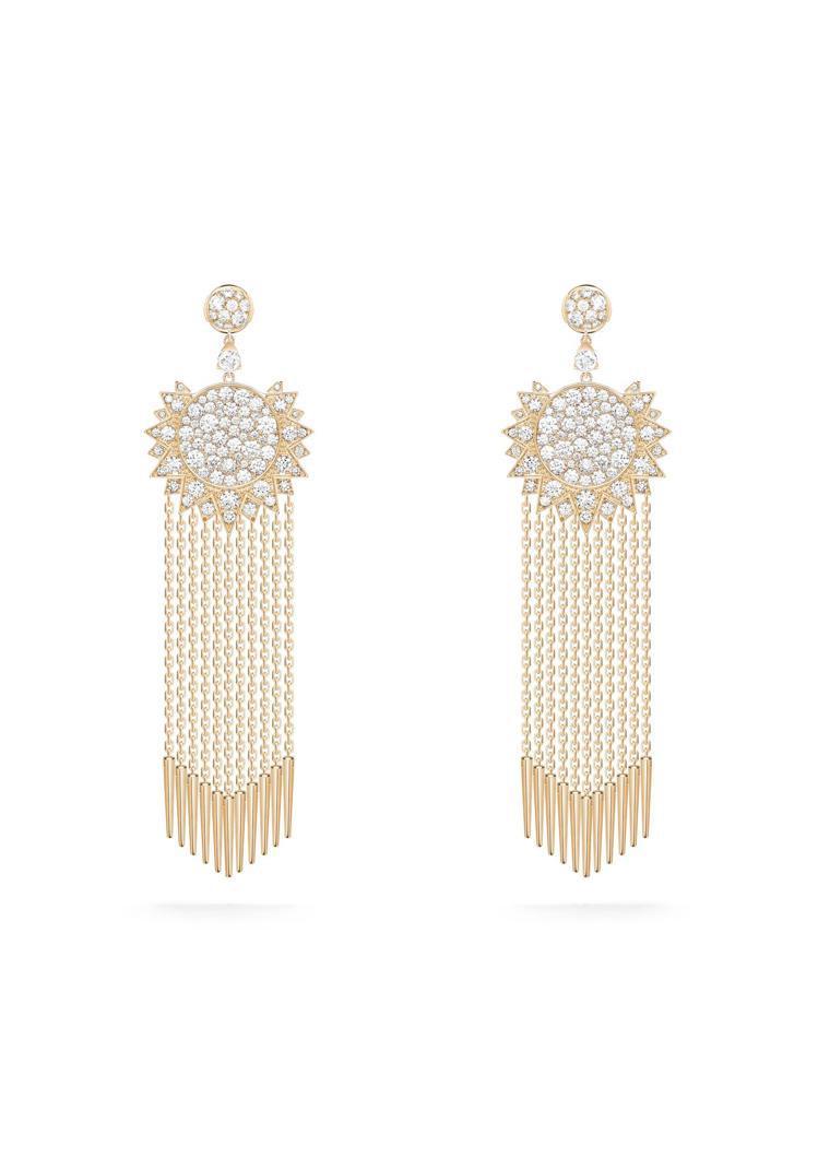 伯爵表Sunlight系列18K玫瑰金流蘇鑲鑽耳環,共鑲嵌170顆鑽石,約58萬...