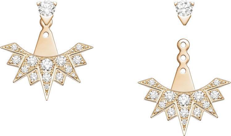 伯爵表Sunlight系列18K玫瑰金鑲鑽耳環,共鑲嵌32顆鑽石,約19萬6,0...