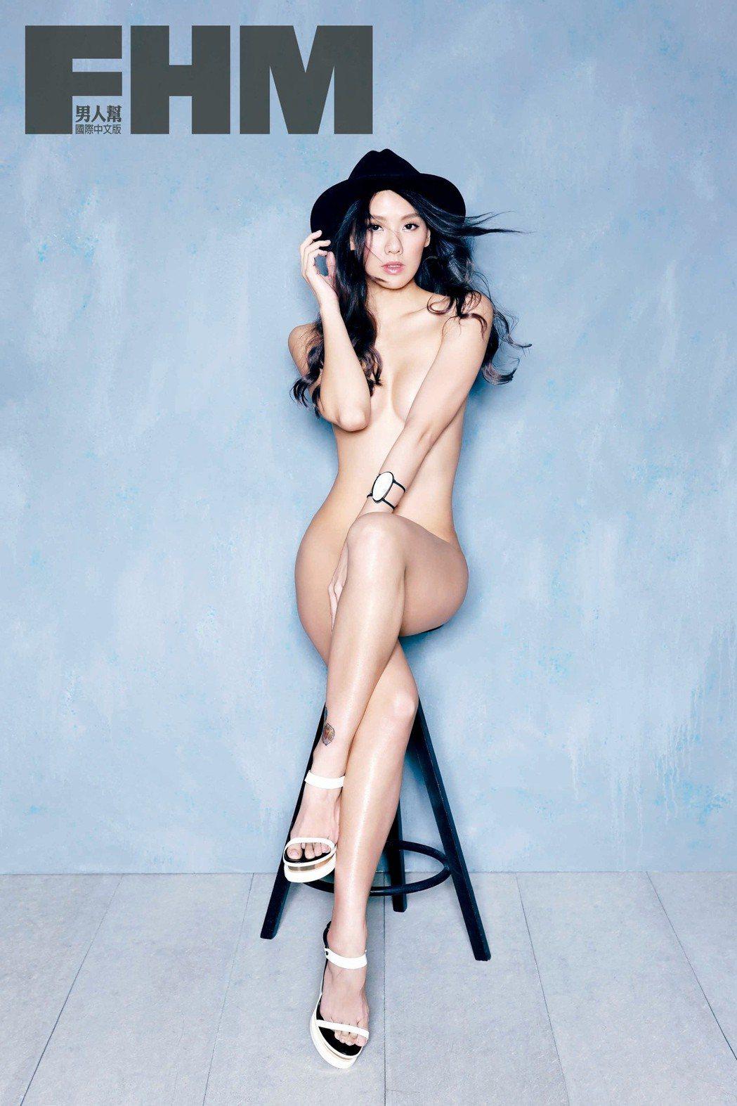 劉雨柔為拍攝雜誌幾乎全裸。圖/FHM男人幫國際中文版提供