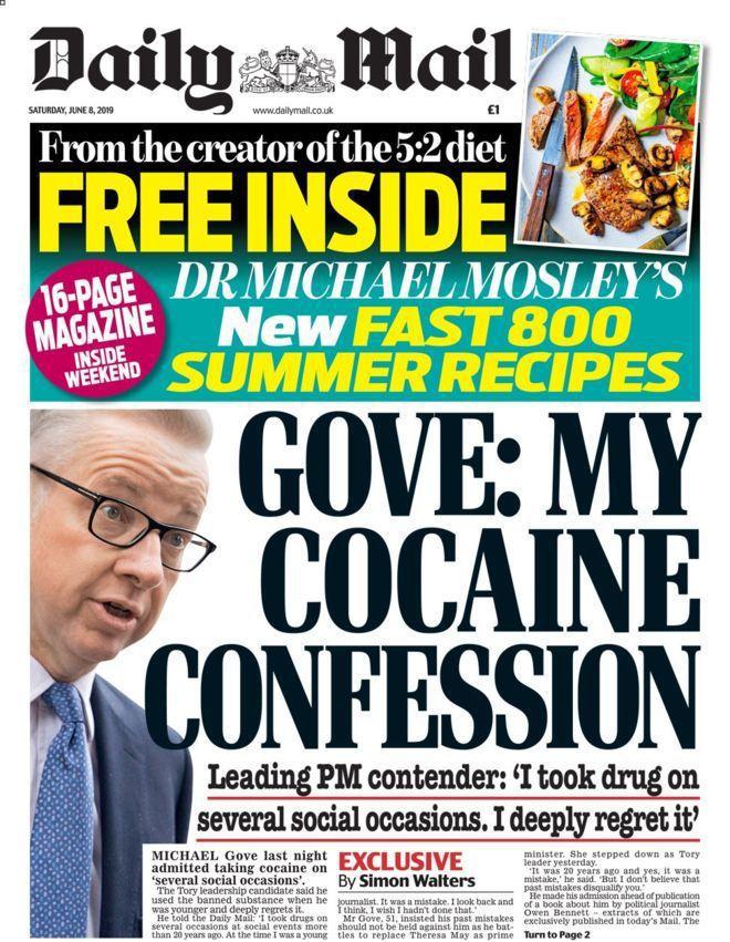 英國每日郵報8日以頭條報導戈夫曾經吸毒的過往。 圖/摘自每日郵報