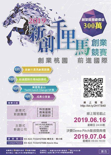 2019新創千里馬海報。 中央大學/提供