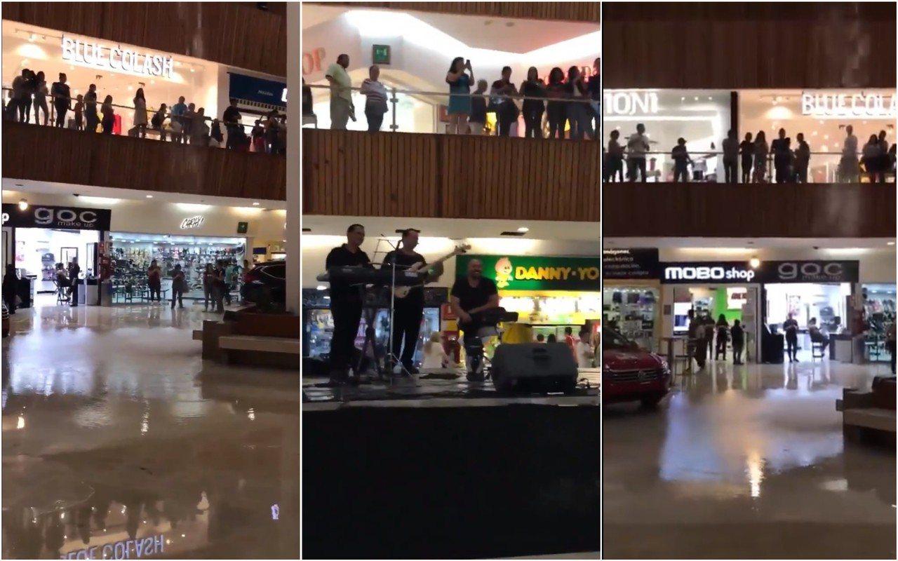 墨西哥一個商場因為大雨漏水,現場一隊樂隊卻未有中止表演,更配合地奏出電影《鐵達尼...