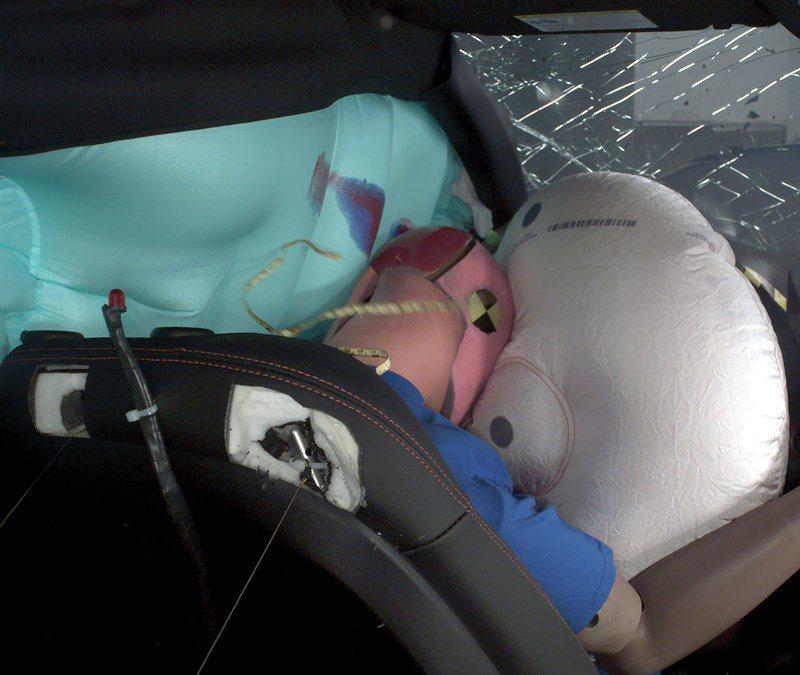 第二代Hyundai Veloster正面與側簾輔助氣囊發揮了其保護的作用。 摘...