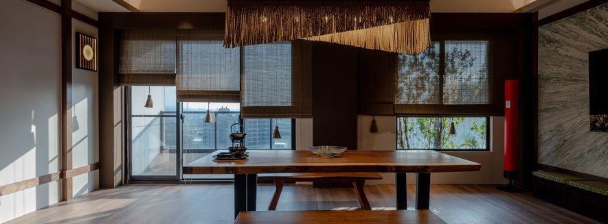 (圖)設計師精選竹片捲簾叩合量體主題,並特製注連繩流蘇,於機能功用中打造美觀視野...