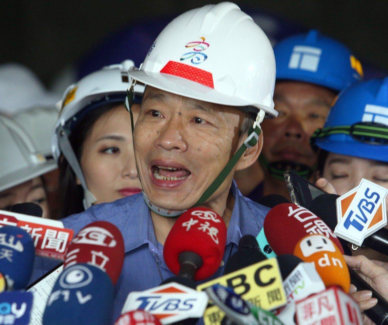 高雄市長韓國瑜表示治水工作一直都在進行,請大家多給點時間。記者劉學聖/攝影