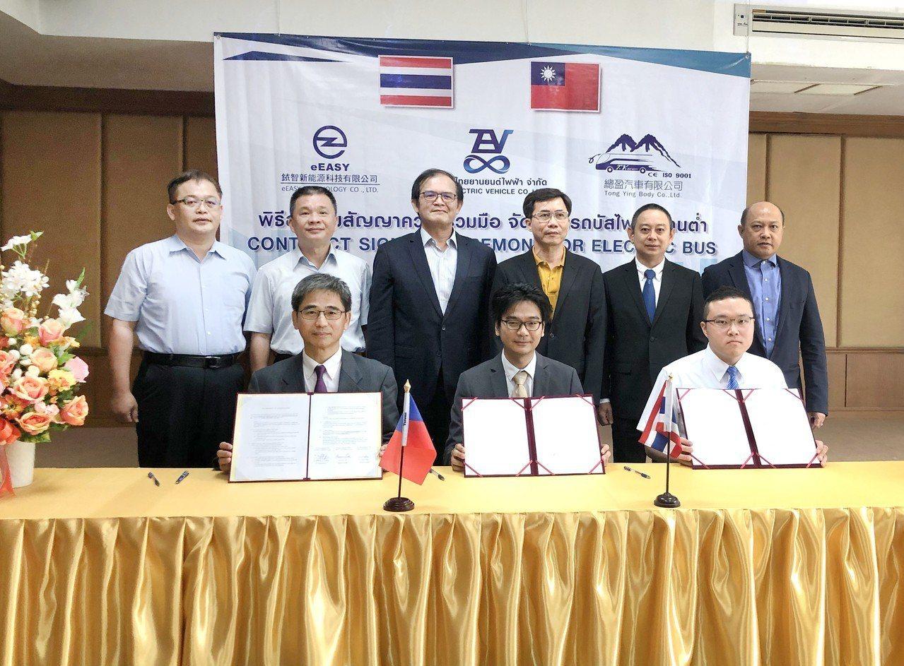 工研院結合銥智公司、總盈公司等組成的電動巴士聯盟和泰國電動車公司簽署合作備忘錄,...