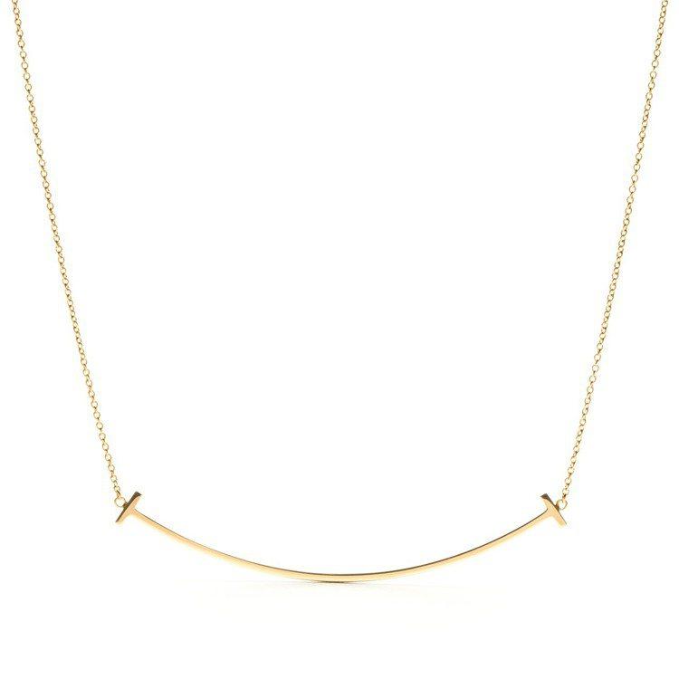 Tiffany T系列Smile 18K金項鍊,約35,500元。圖/Tiffa...