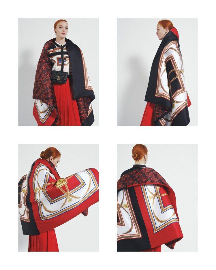 各式各樣的絲巾用法與穿搭,讓BURBERRY秋冬女裝有多樣輪廓。圖/BURBER...