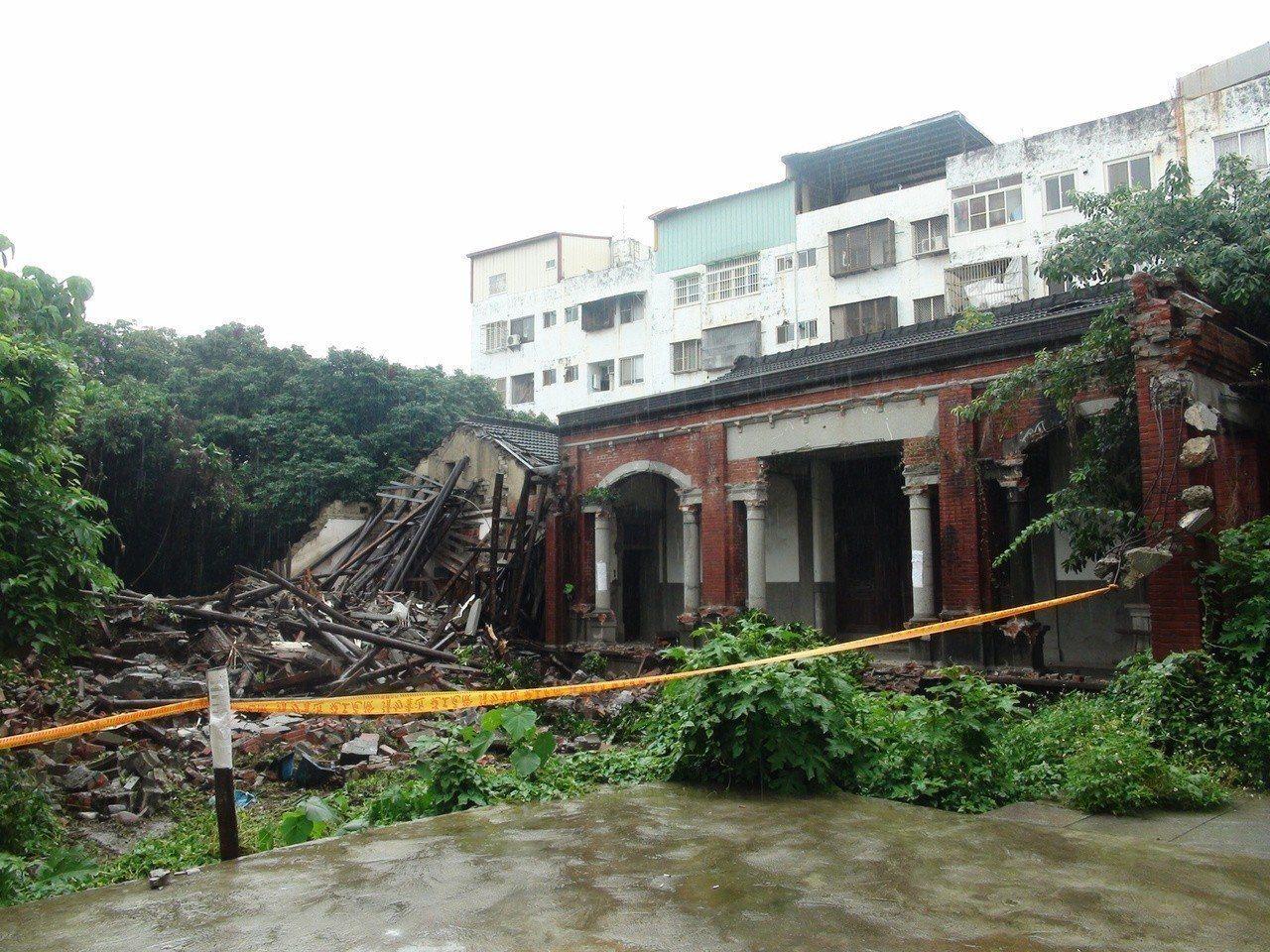 台中神岡林淑景宅右護龍遭拆除,文化部緊急列為暫定古蹟。記者余采瀅/攝影