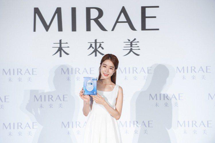 劉寅娜以「未來美MIRAE」代言人身分來台出席8分鐘氣墊面膜新品上市活動。圖/未...