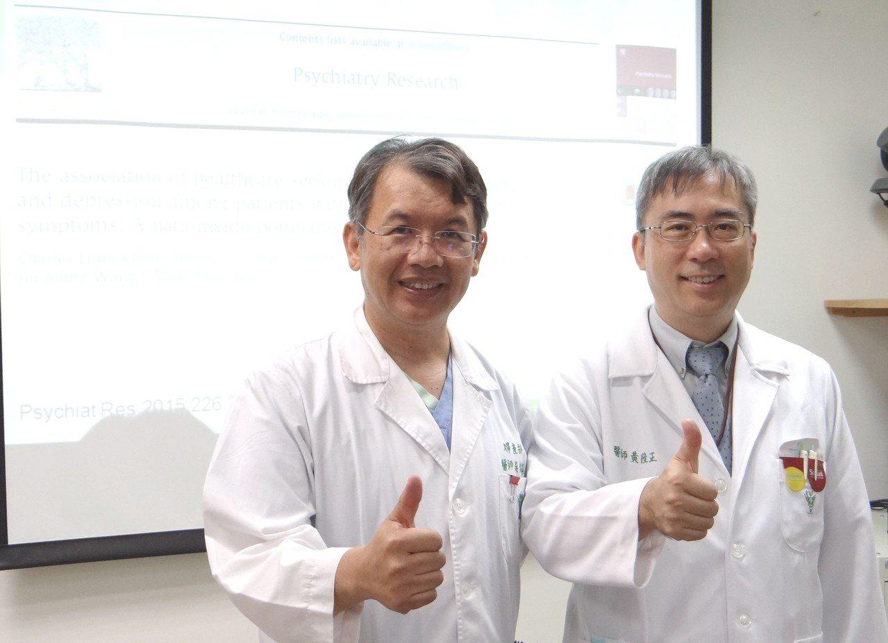 奇美醫學中心精神科主治醫師黃隆正(右)與婦女泌尿科主任吳銘斌(左)共同表示,研究...