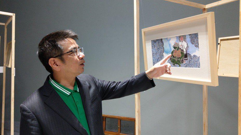 「噶瑪蘭公主與龜將軍」插畫創作展即日起在宜蘭人文故事館二樓展至21日。 記者戴永華/攝影