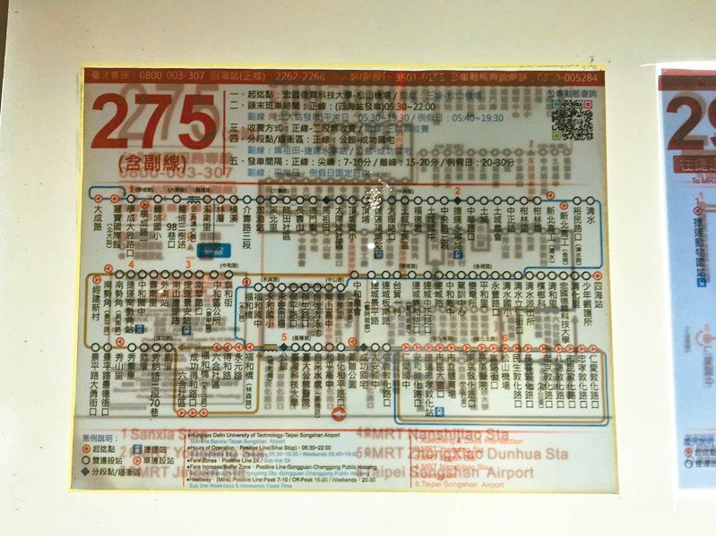台北市部分公車候車亭內張貼的公車路線圖,因公運處更換新圖時,舊圖未撕除就直接用新圖覆蓋貼上,導致民眾看得眼花撩亂。 圖/議員王欣儀提供