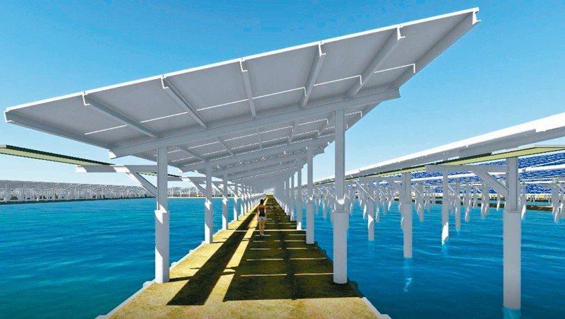台鹽綠能在南台發展漁電共生,但目前尚未有個案獲通過,圖為模擬魚塭上有太陽能板。 圖/台鹽綠能提供