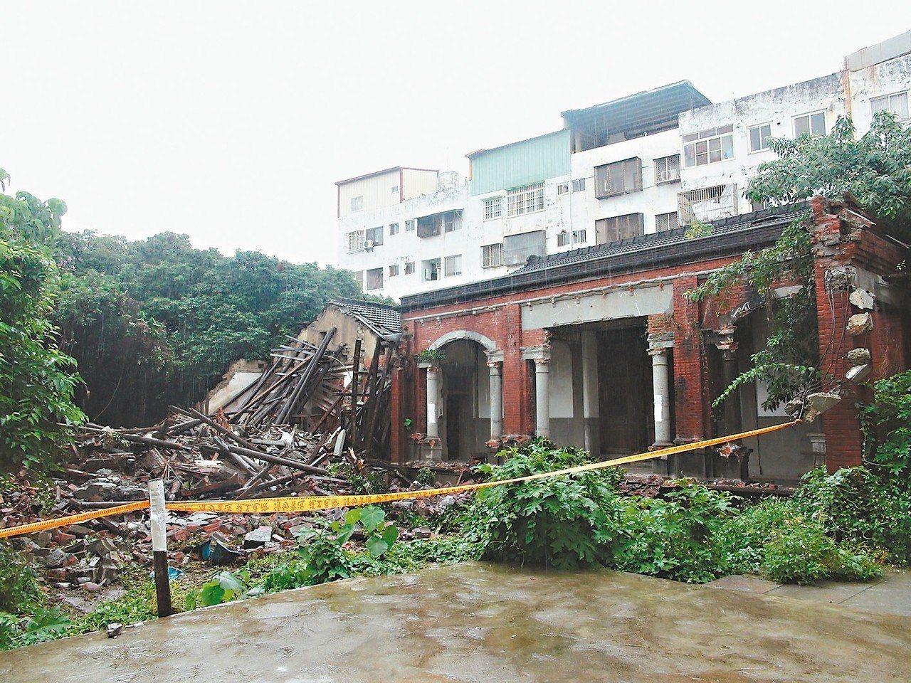 台中神岡林宅右護龍前天遭拆除,文化部緊急列為暫定古蹟。 記者余采瀅/攝影