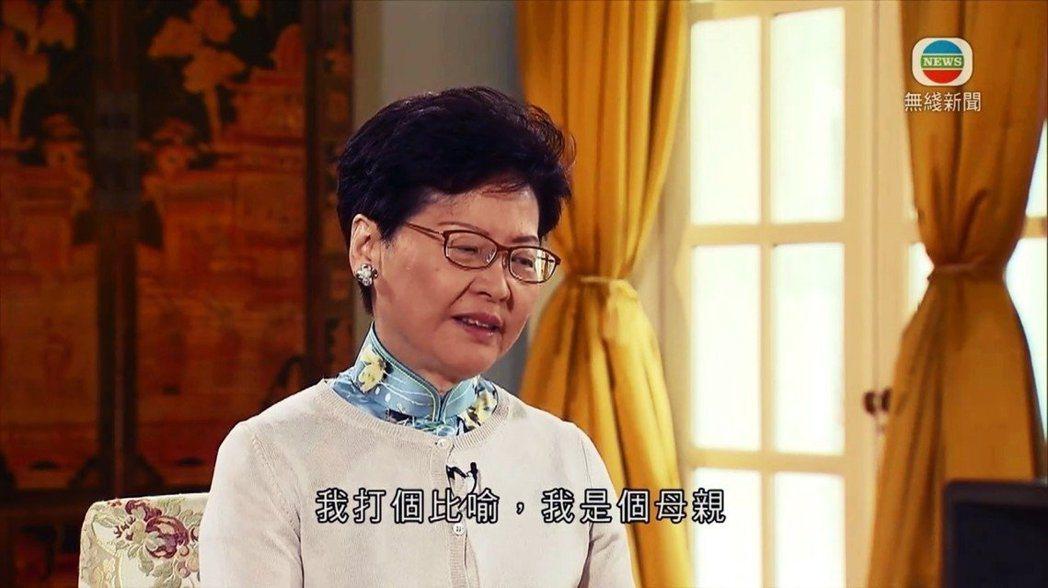 香港特首林鄭月娥受訪時動情哽咽。 圖/截自《TVB》