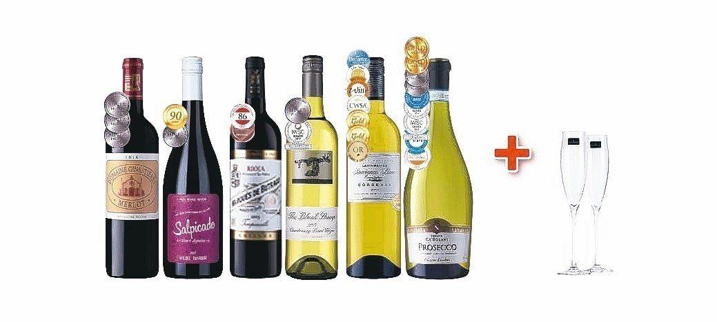 6瓶「25面獎牌紅白氣泡酒組」優惠價3,588元,免費贈送英國原裝香檳杯一對。 ...