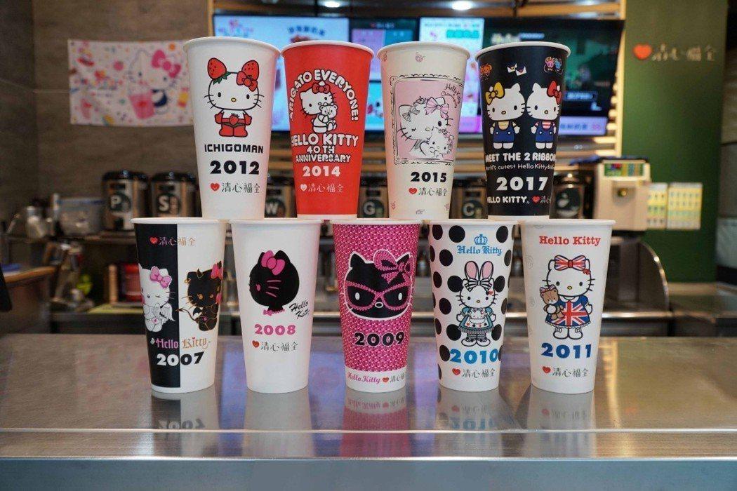 最新一波9款「Hello Kitty典藏年份圖紙杯」。 清心福全/提供
