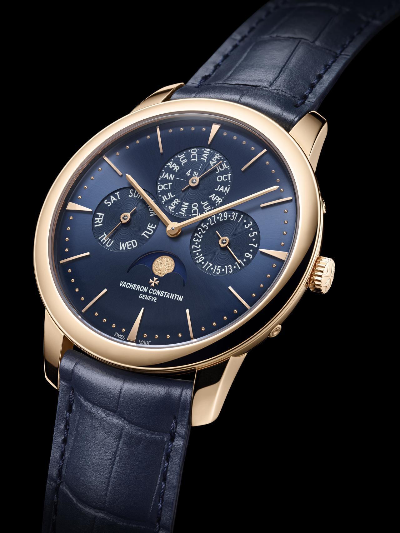 江詩丹頓PATRIMONY午夜藍超薄萬年曆腕表,41毫米18K5N玫瑰金表殼、1...