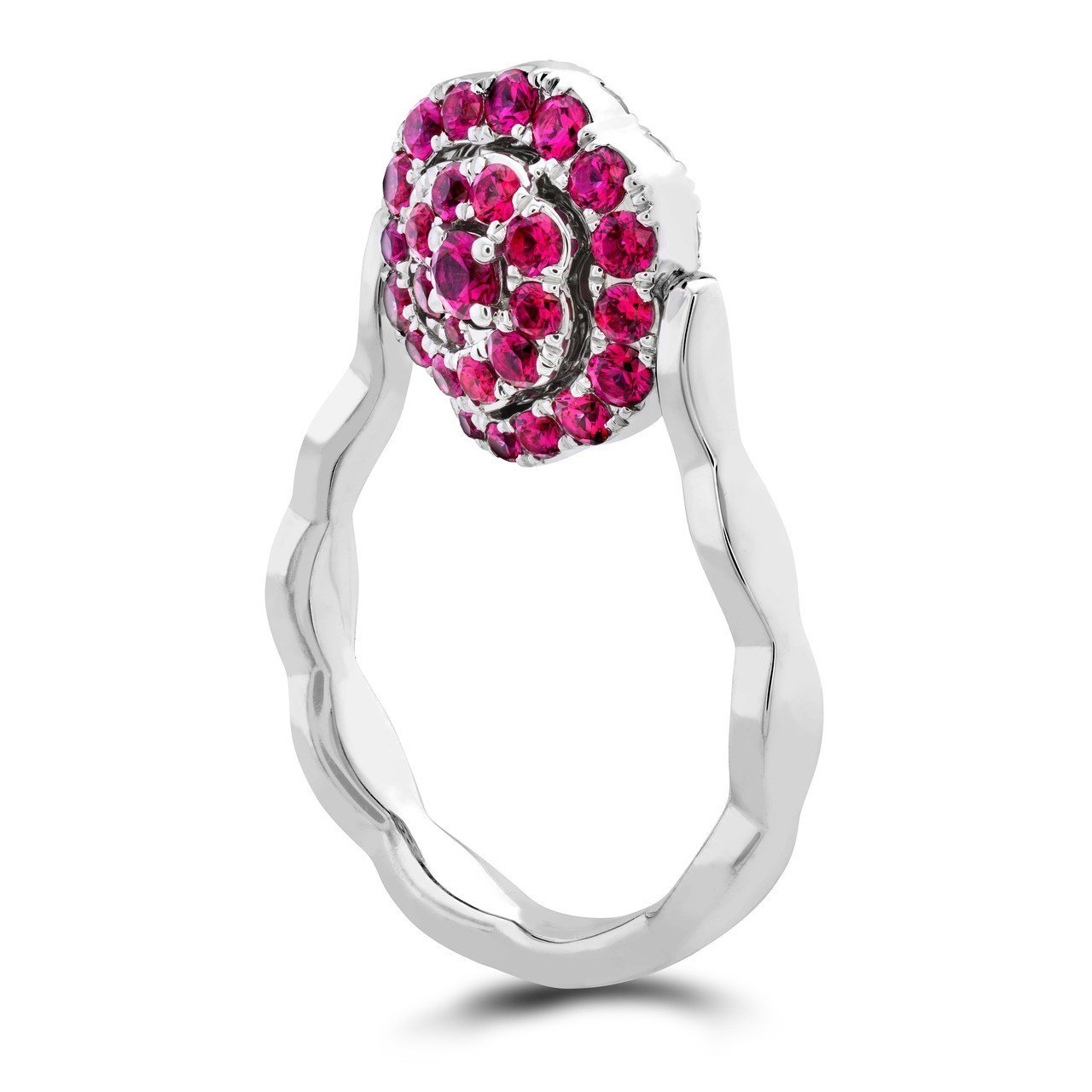 LORELEI慈善珠寶系列可翻轉式戒指,白K金鑲嵌鑽石總重約0.6克拉、紅寶石總...