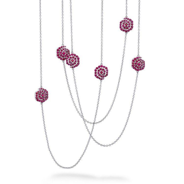 LORELEI慈善珠寶系列可翻轉式長項鍊,白K金鑲嵌鑽石總重約1.88克拉、紅寶...