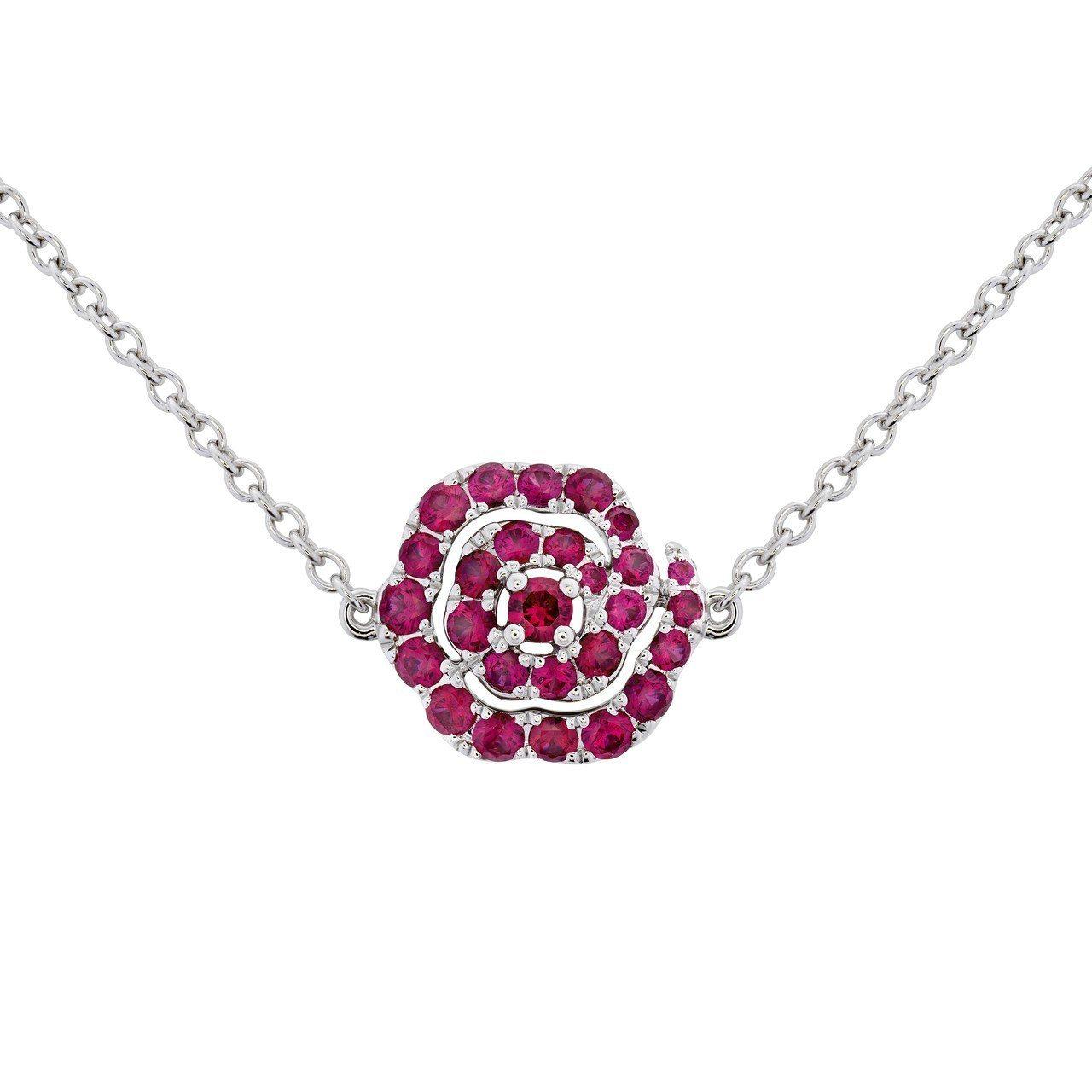 LORELEI慈善珠寶系列長項鍊採可翻轉式設計,正面鑲嵌HEARTS ON FI...