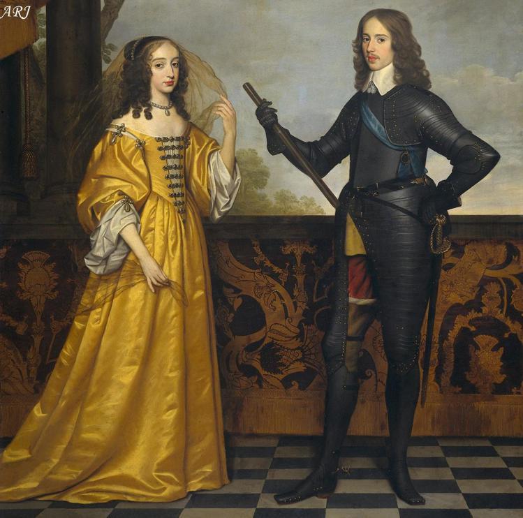 英王威廉三世的父親奧蘭治親王威廉二世及母親瑪麗斯圖亞特1647年時的肖像。圖/邦...