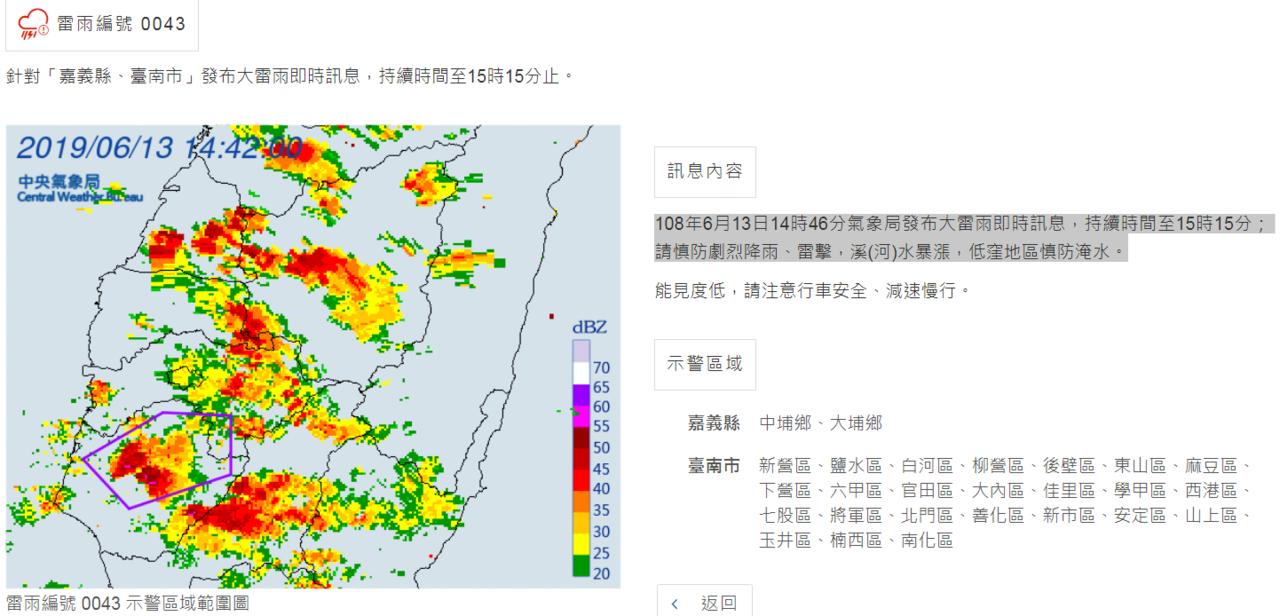 氣象局發布大雷雨即時訊息。圖/氣象局提供