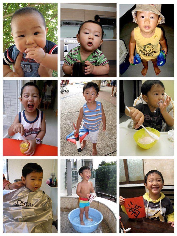徐曉晰把兒子成長照片弄成集錦,看著就掉淚了。圖/徐曉晰臉書
