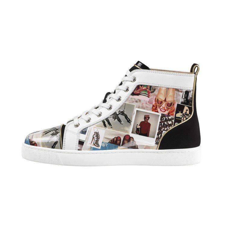 以mood board和設計師肖像作為拼接設計的男款休閒鞋,售價34,500元。...
