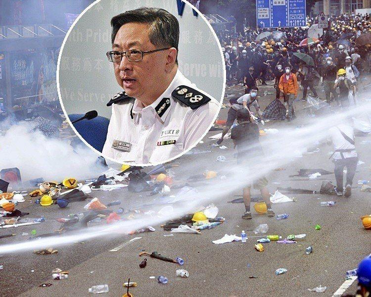 香港警務處長盧偉聰指警方昨日只以低殺傷力武力驅散示威者。取自星島網