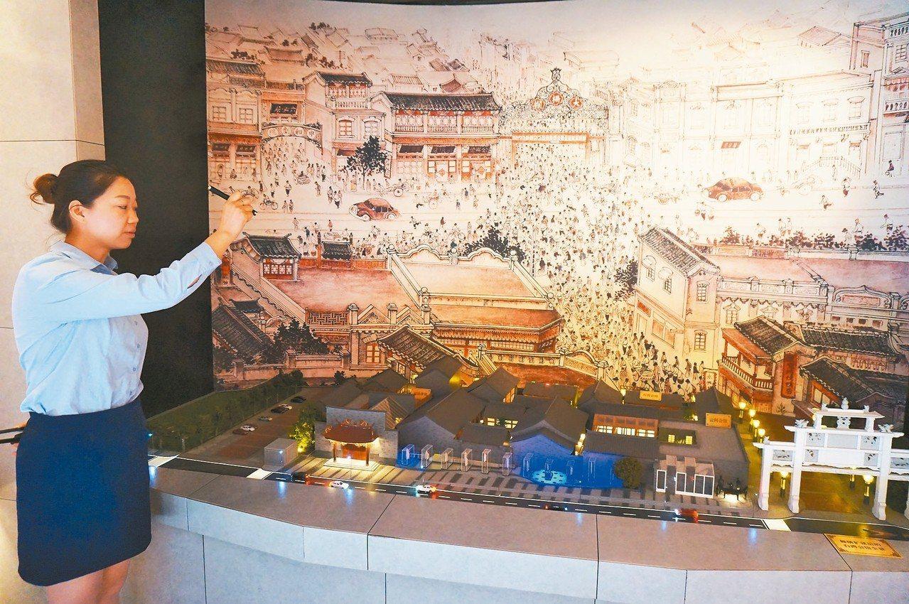 台灣會館在北京前門外位置展示縮影 記者胡明揚/攝影