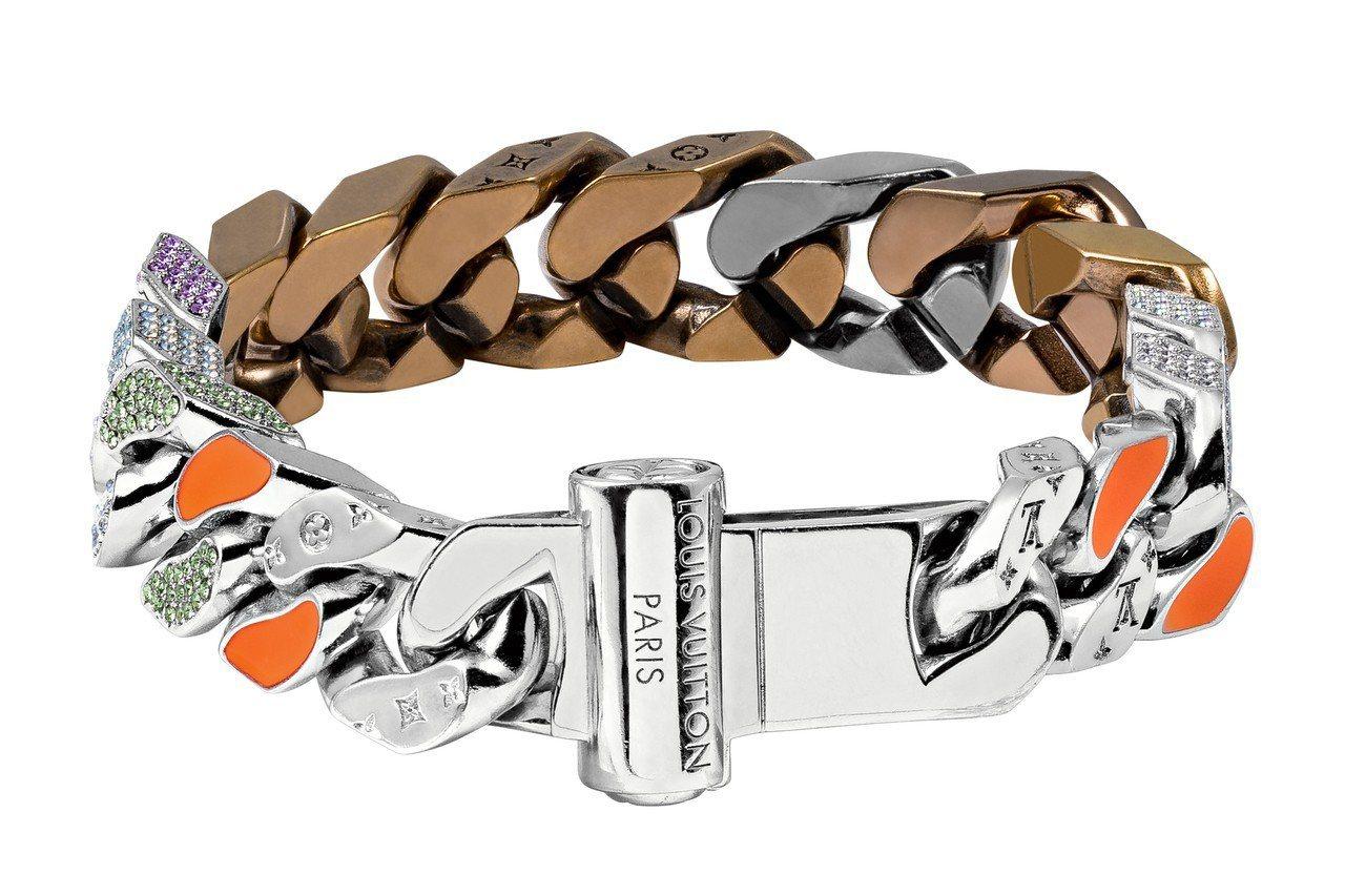 路易威登男裝系列手鍊,具橘色調瓷釉,約64,000元。 圖/Louis Vuit...
