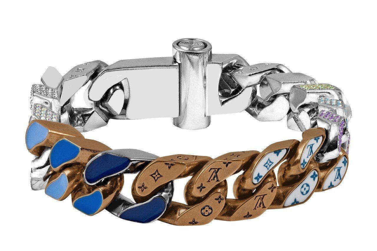 路易威登男裝系列手鍊,具藍色調瓷釉,約64,000元。 圖/Louis Vuit...
