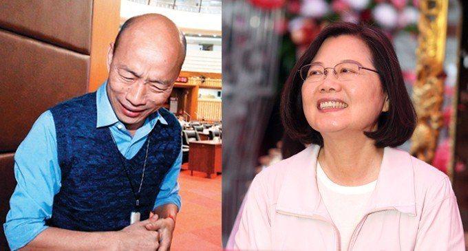 民進黨總統初選民調結果昨天出爐,國民黨內人氣最旺的高雄市長韓國瑜(左),在該分民調數據中卻被打趴。 圖/聯合報系資料照