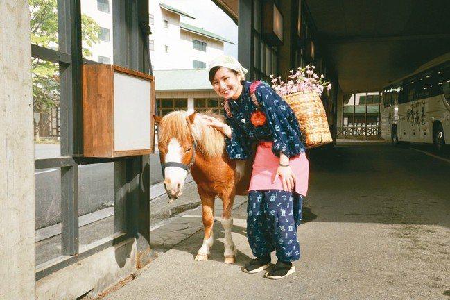 青森屋門口有一頭可愛的小馬等著迎接客人到訪。 圖/陳志光、游慧君