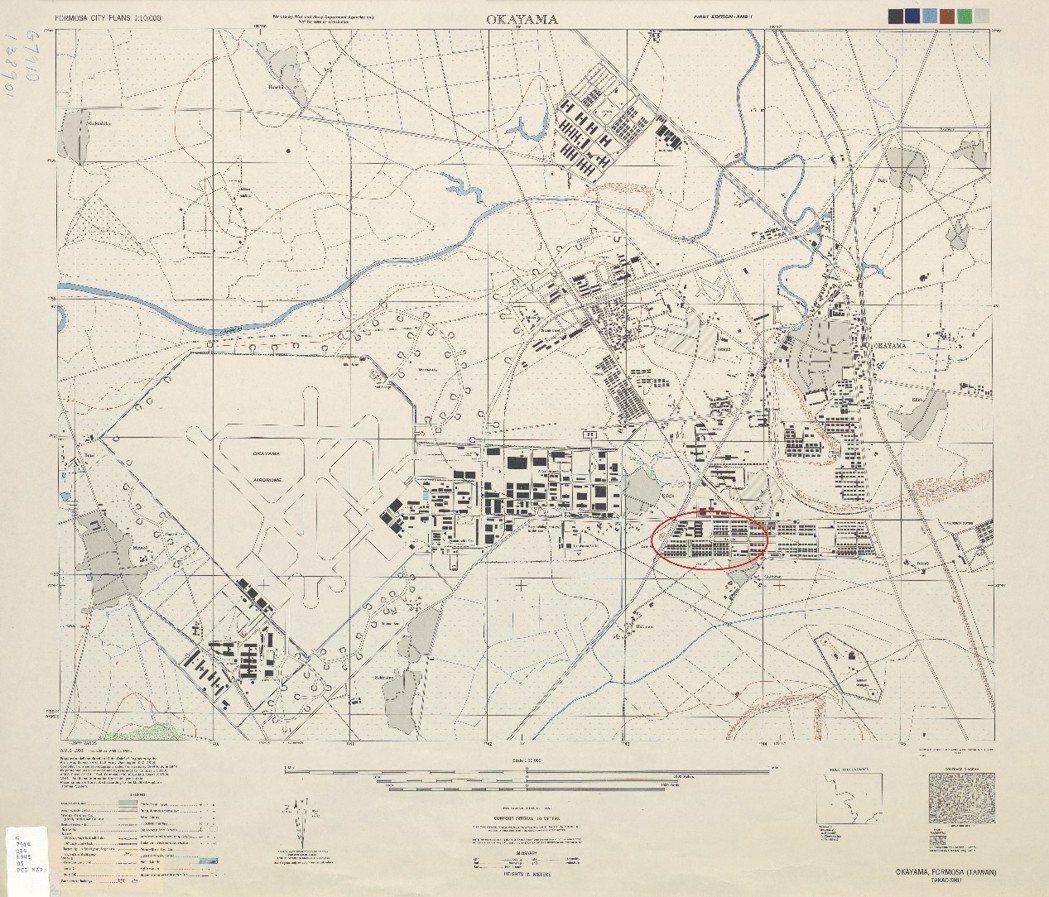 《1944年美軍繪製台灣城市地圖》,紅色圓圈圈起來部分就是欣欣市場位置。