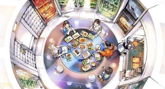 日本「Space Food X」發布了設想中的2040年月面餐菜單。餐桌上擺放的...