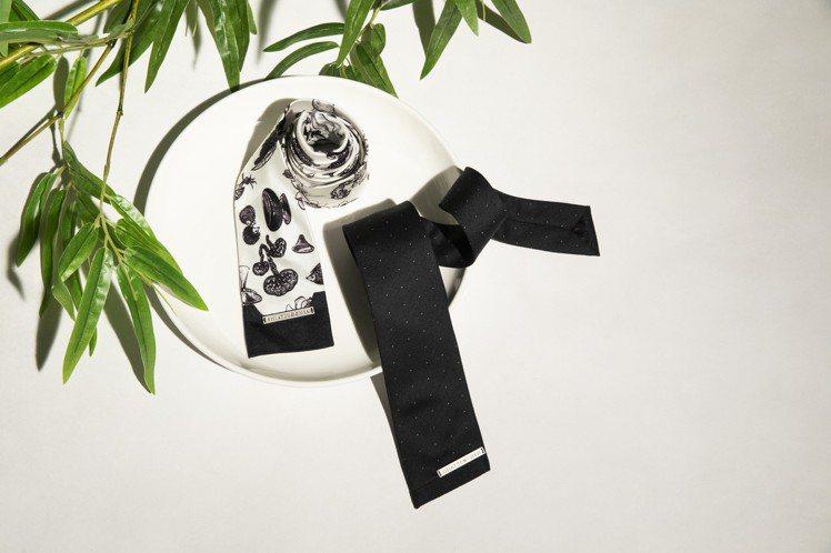 男裝系列推出絲質印花方形領帶、不對稱角度黑色波點領帶。圖/夏姿提供