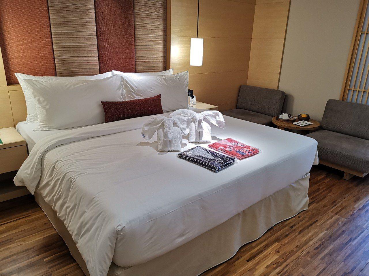 北投亞太飯店的豪華雙人套房。記者韓化宇/攝影